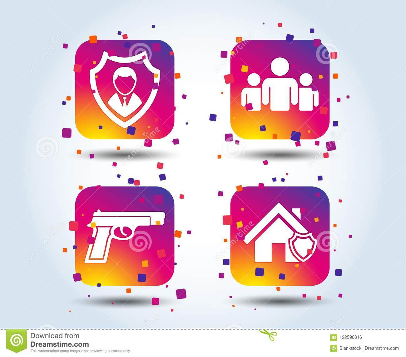 Security Agency Icons Home Shield Protection Stock Vector