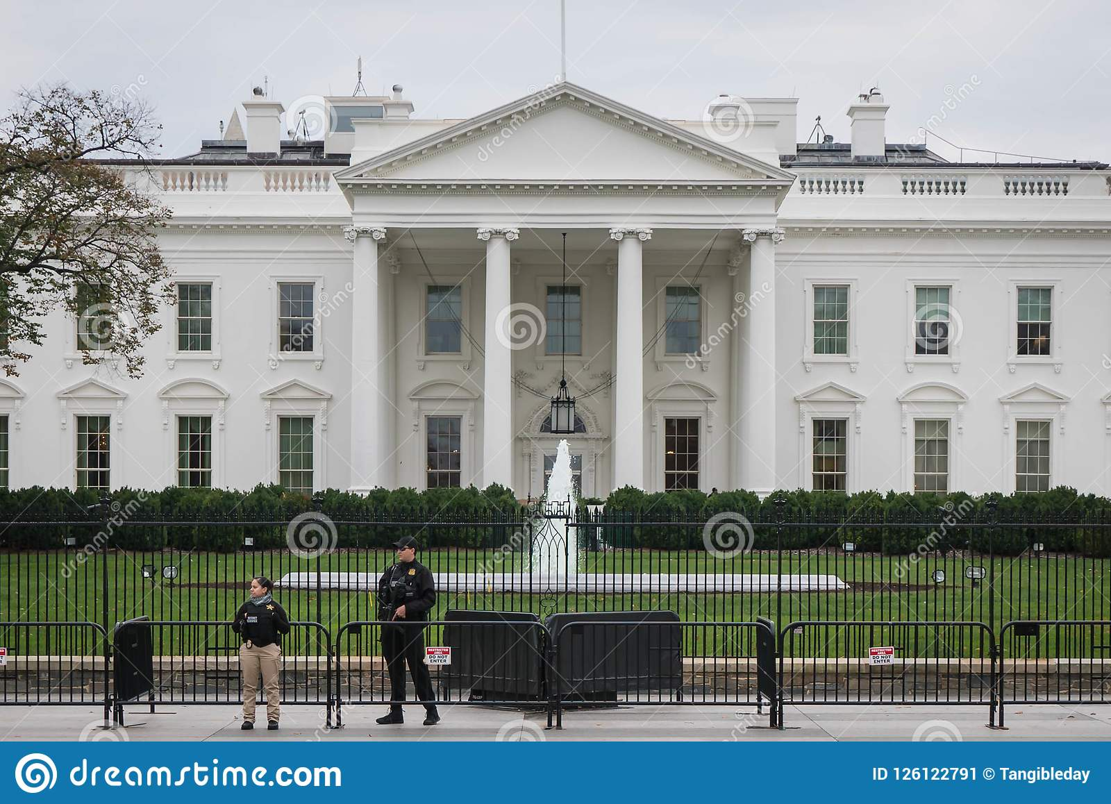 White house border security, overcast