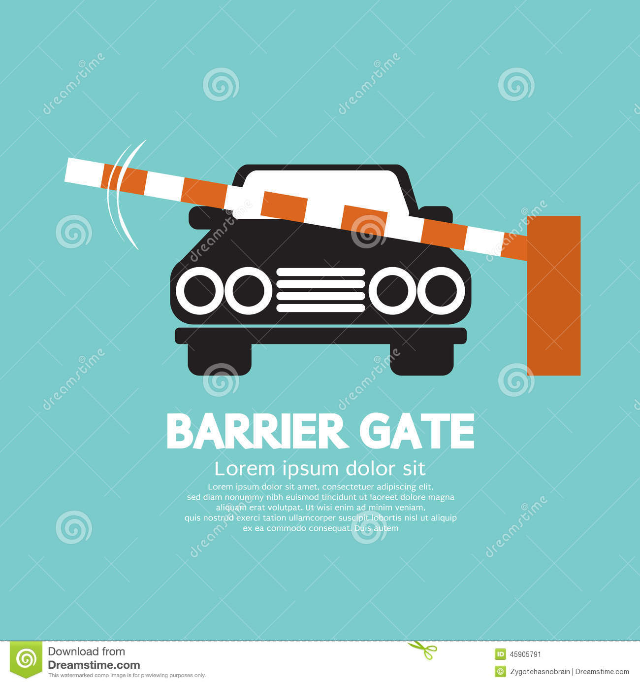 Security Barrier Gate Closed For Vehicle Stock Vector