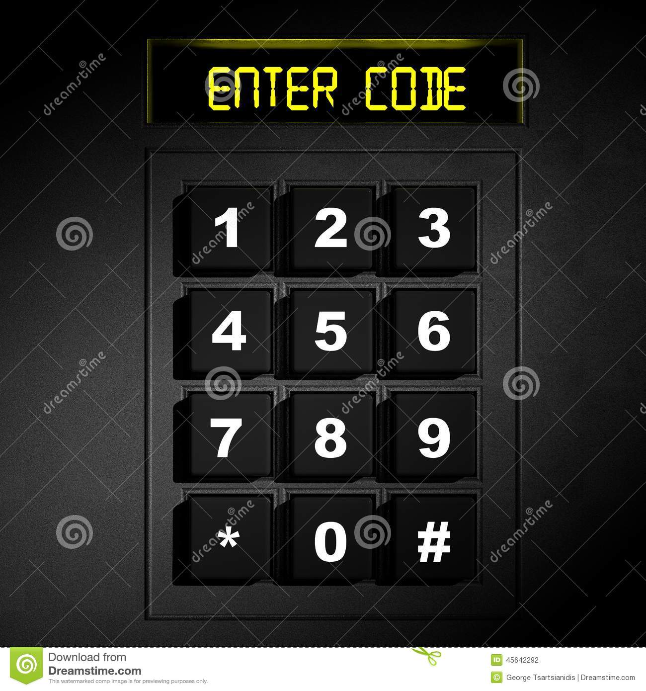 Security Black Numeric Pad Stock Illustration