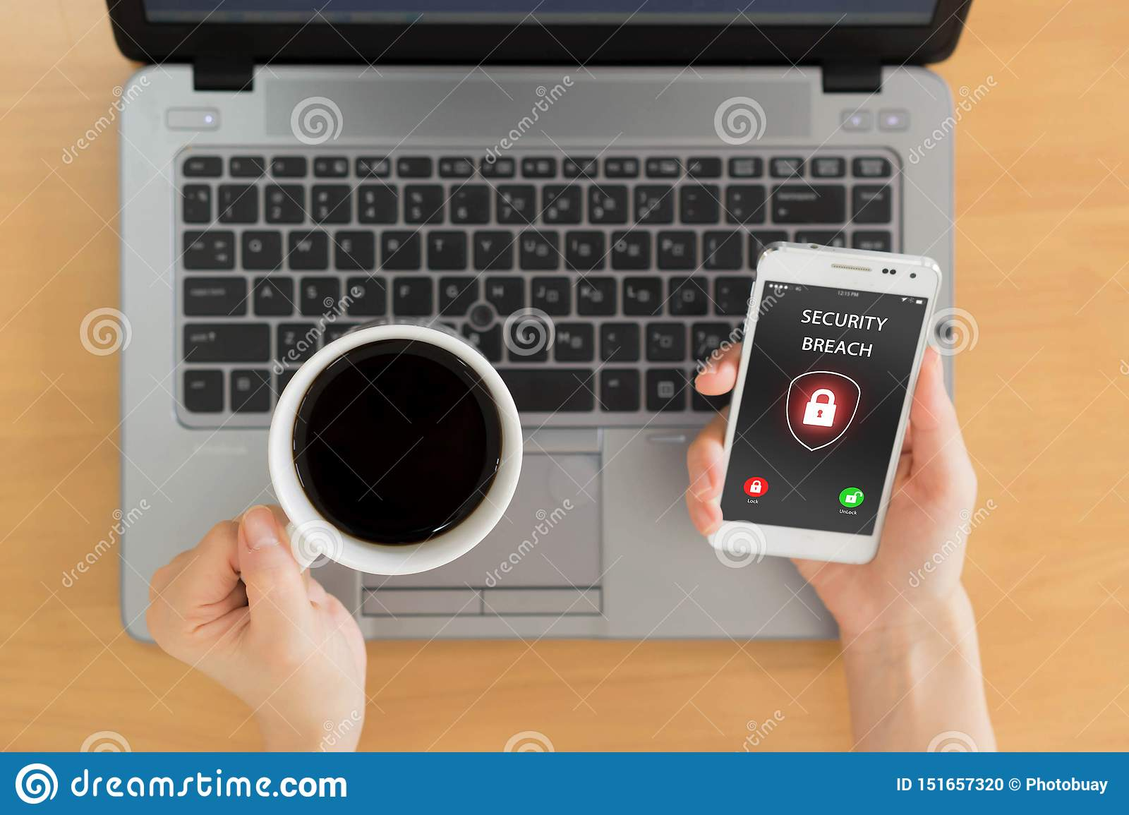 Security breach, smartphone screen, infected by internet
