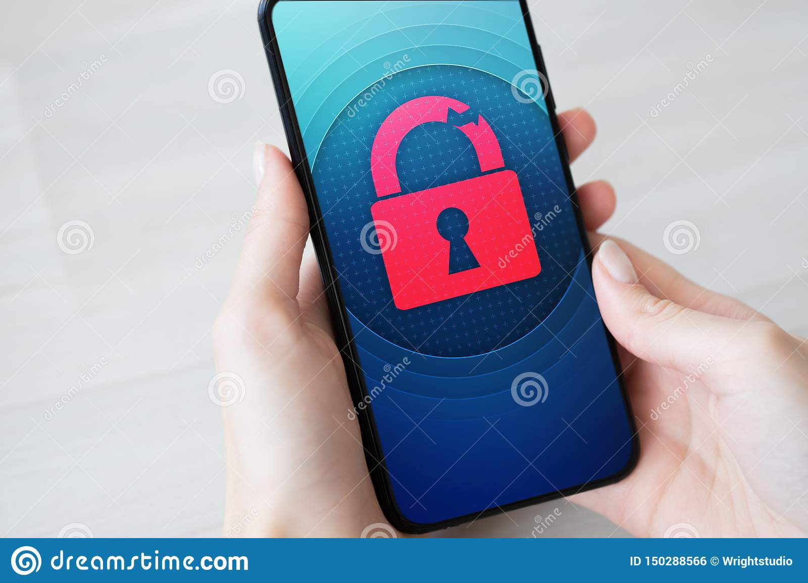 Security breach unlock padlock icon on mobile phone screen. Cyber protection concept.