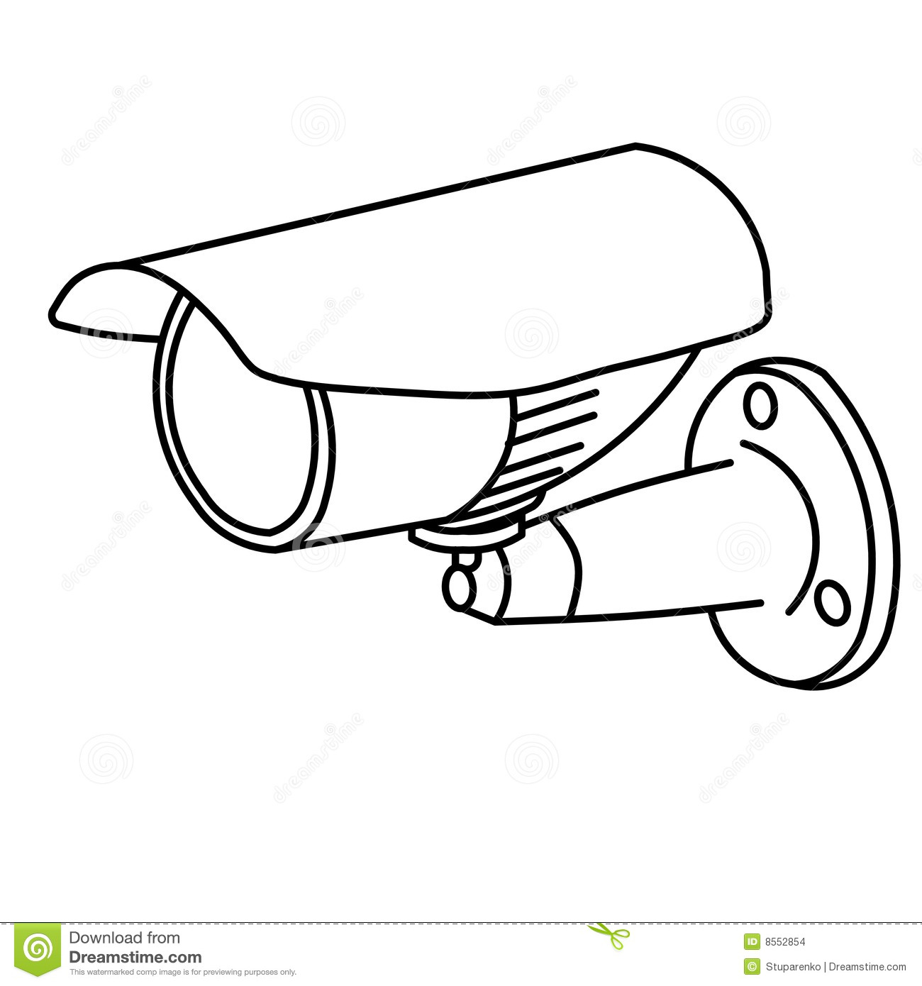 Line Drawing Camera : Security camera stock illustration of