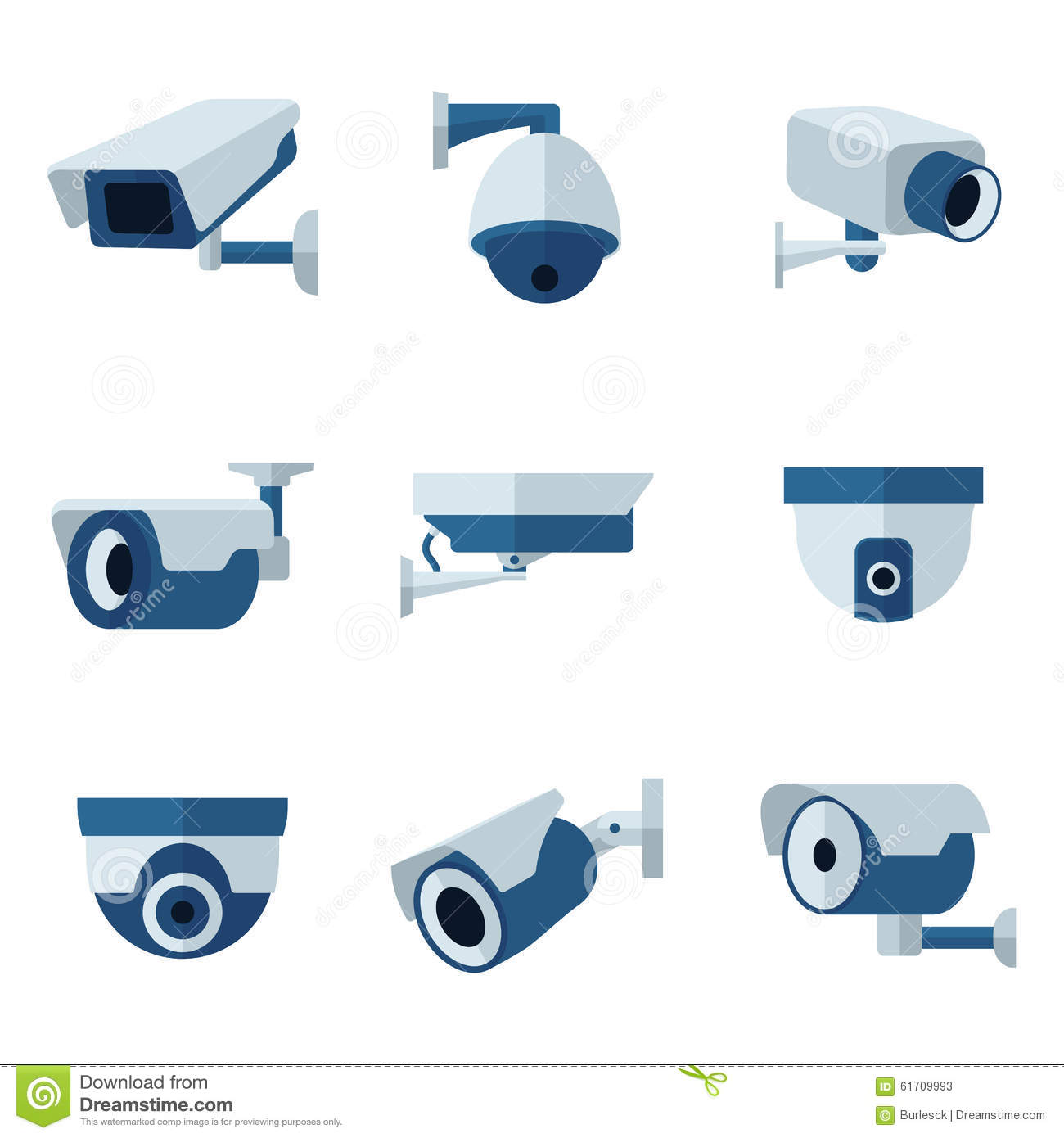 Security camera, CCTV flat icons set. Surveillance private protection ...