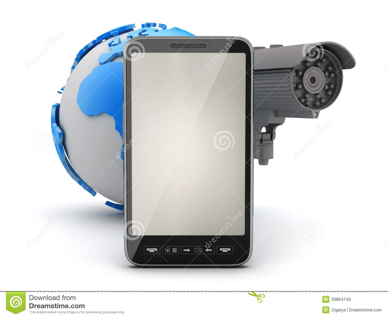 surveillance camera mobile phone and earth globe stock photography 34112156. Black Bedroom Furniture Sets. Home Design Ideas