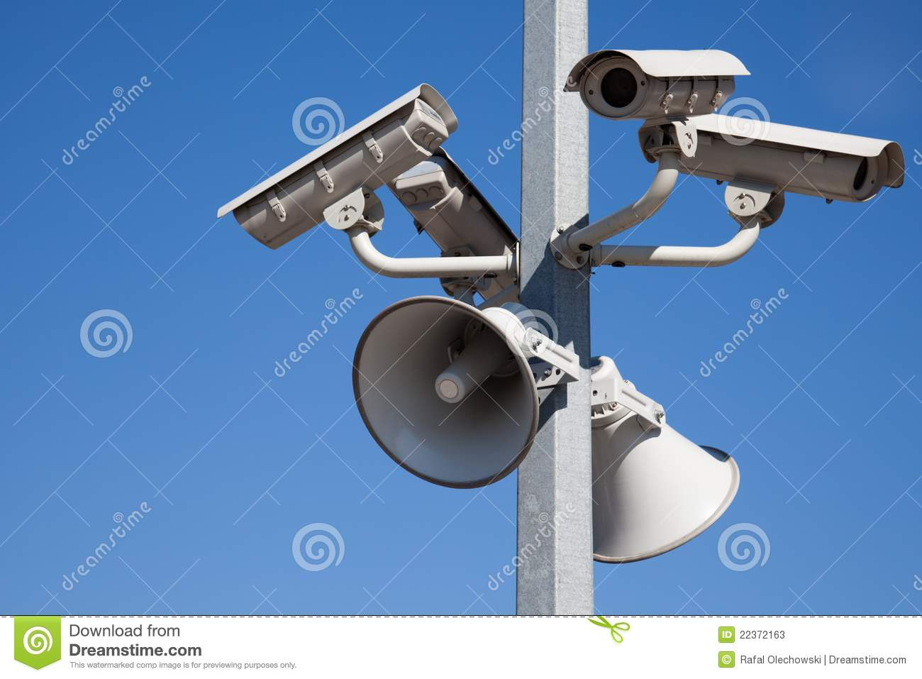 Security Cameras And Speakers On Pole Stock Image Image