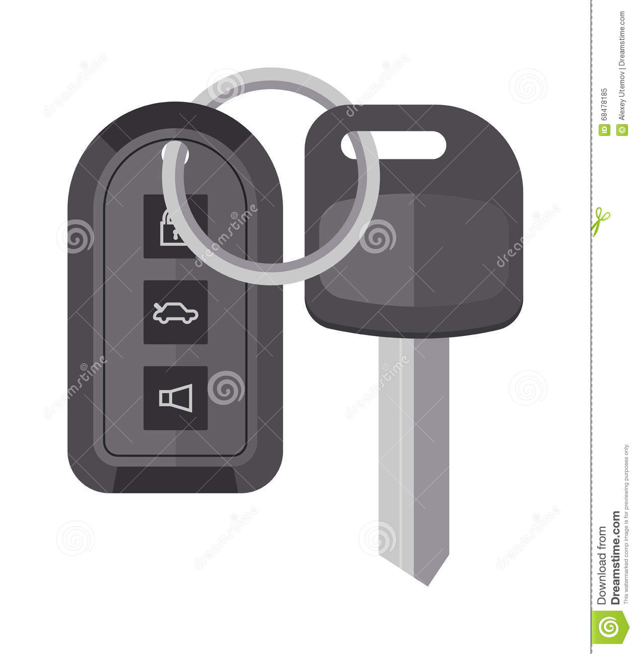 Security Car Key With Remote Control Cartoon Flat Vector