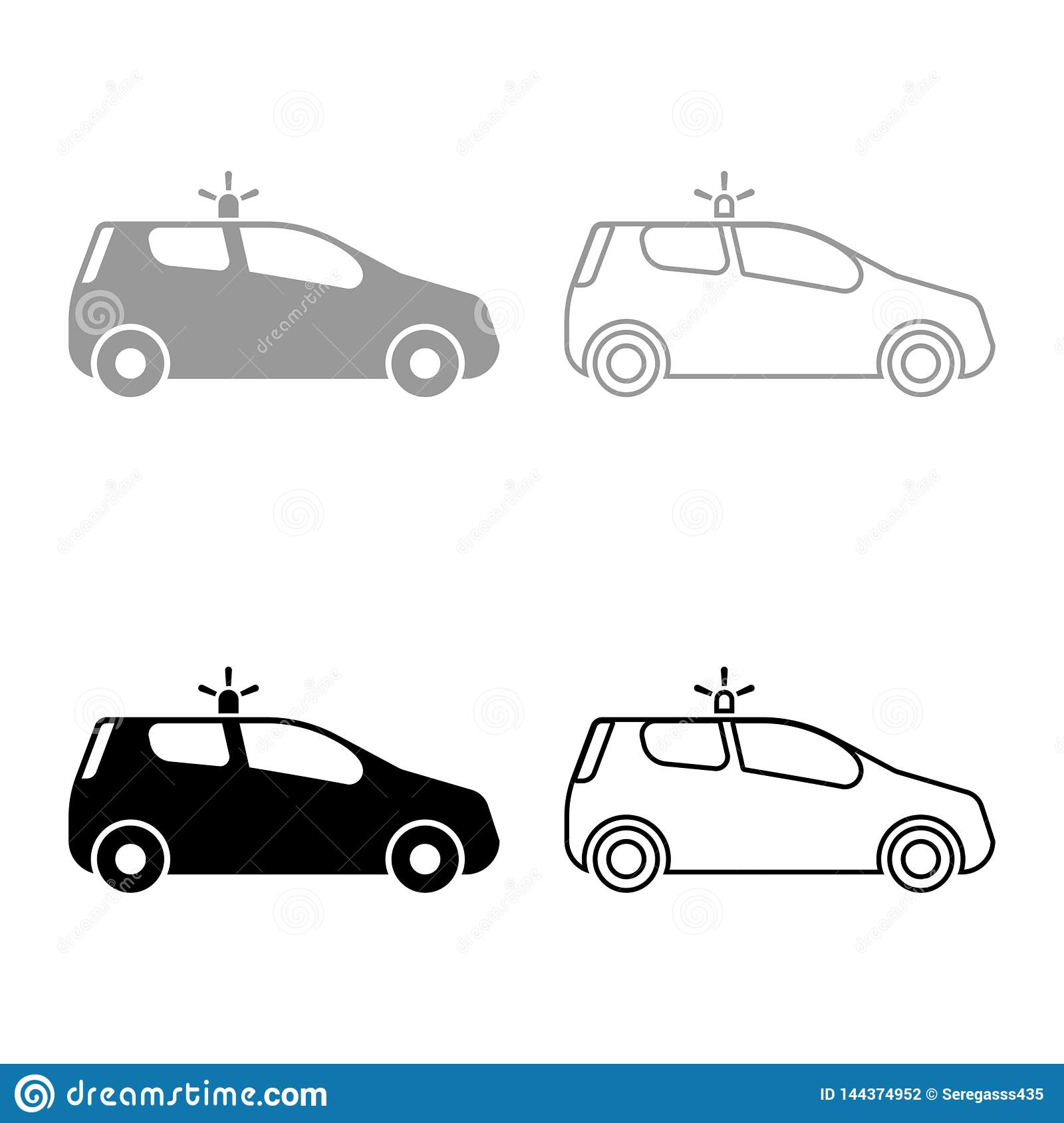 Security car Police car Car with siren icon set black color vector illustration flat style image