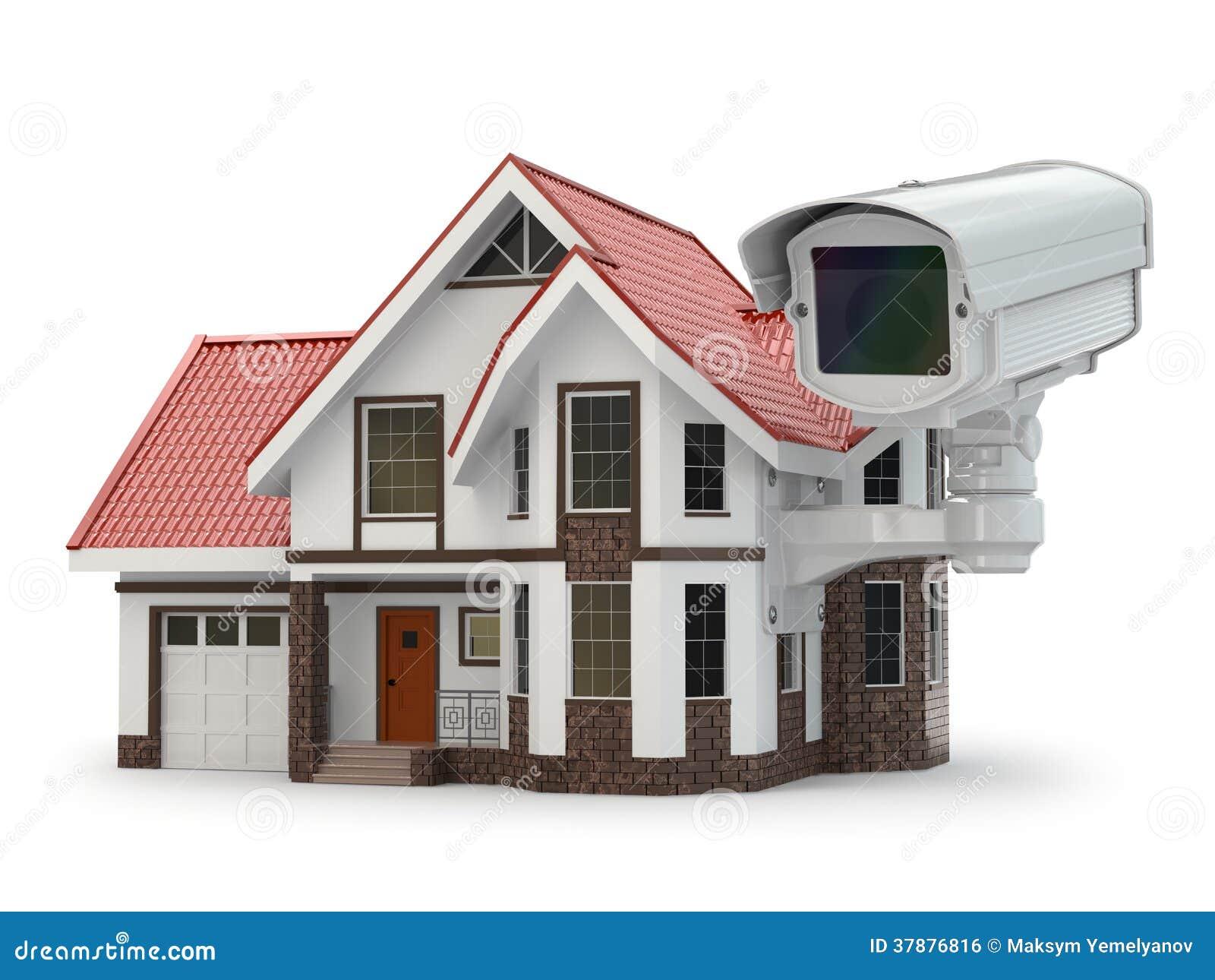 Security cctv camera on the house stock photo image - Camaras de seguridad para casa ...