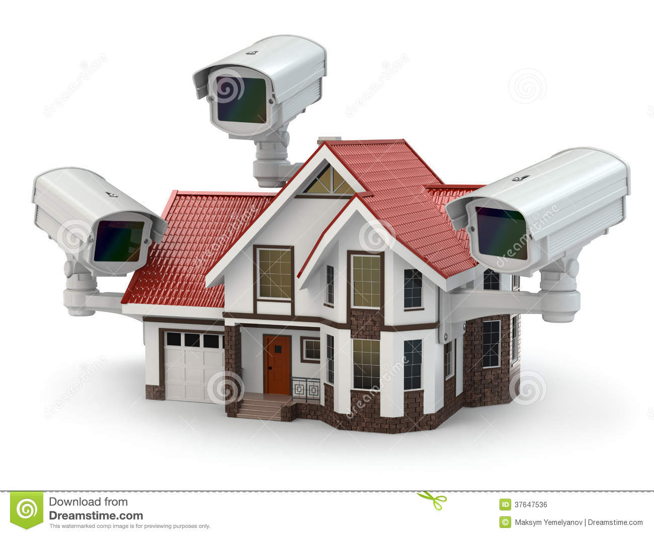 Security cctv camera on the house stock illustration for House alarm with camera