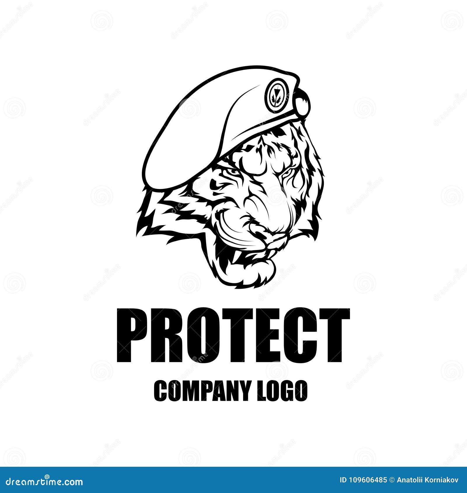 Security company vector logo design template. Protection logo.Tiger in  uniform. Logo icon design. 3ee0ef1ad