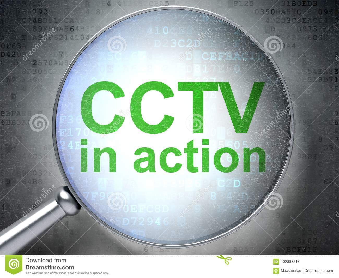Security Concept: CCTV In Action With Optical Glass Stock