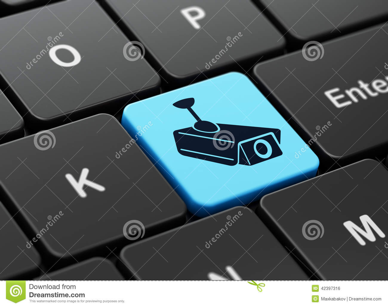 Security Concept: Cctv Camera On Computer Keyboard Stock Illustration ...