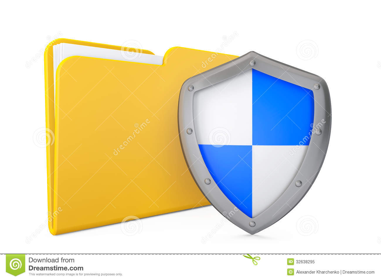 Security Concept. Folder Icon With Shield Stock Image ...