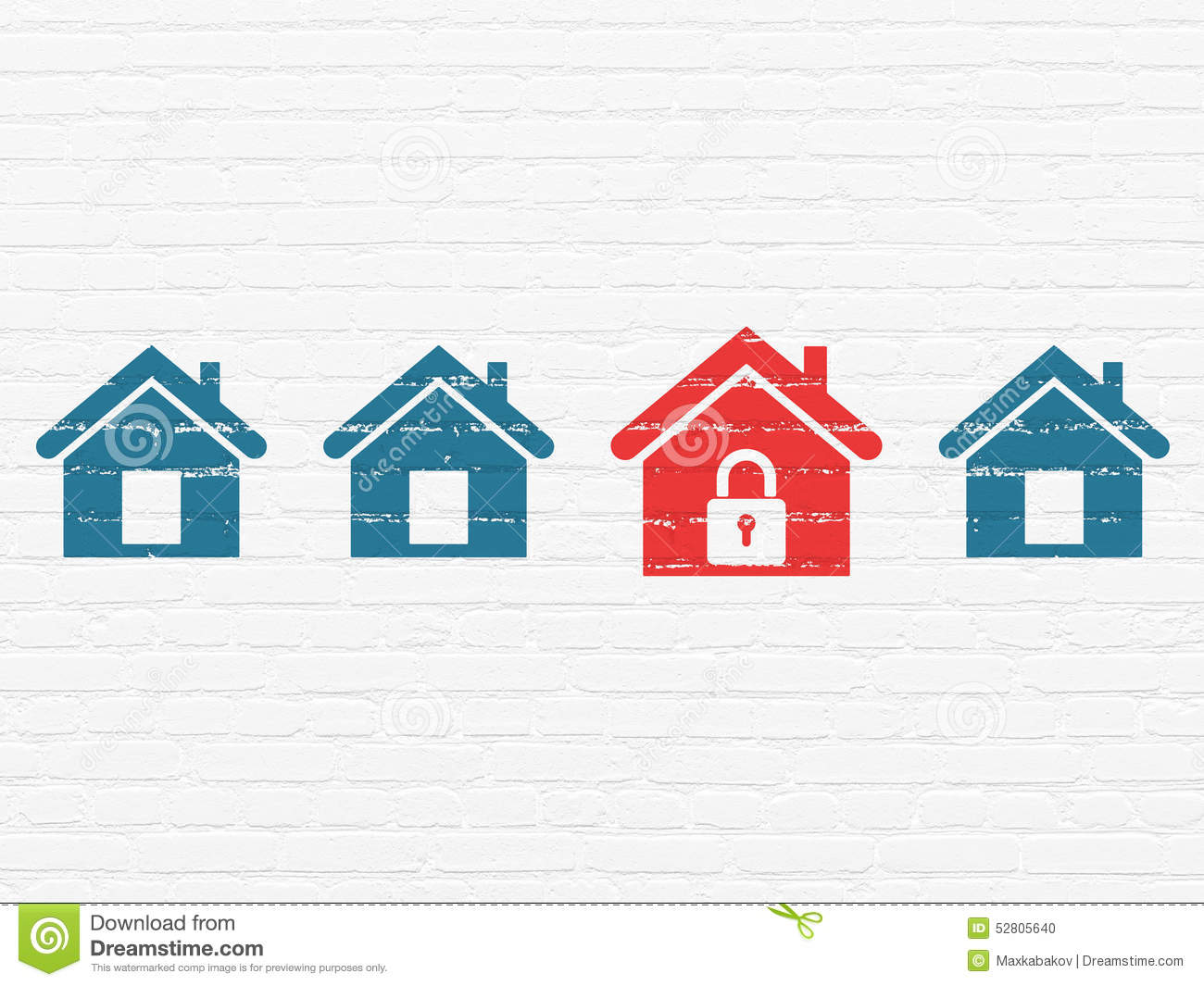 Security Concept Red Home Icon On Wall Background Stock
