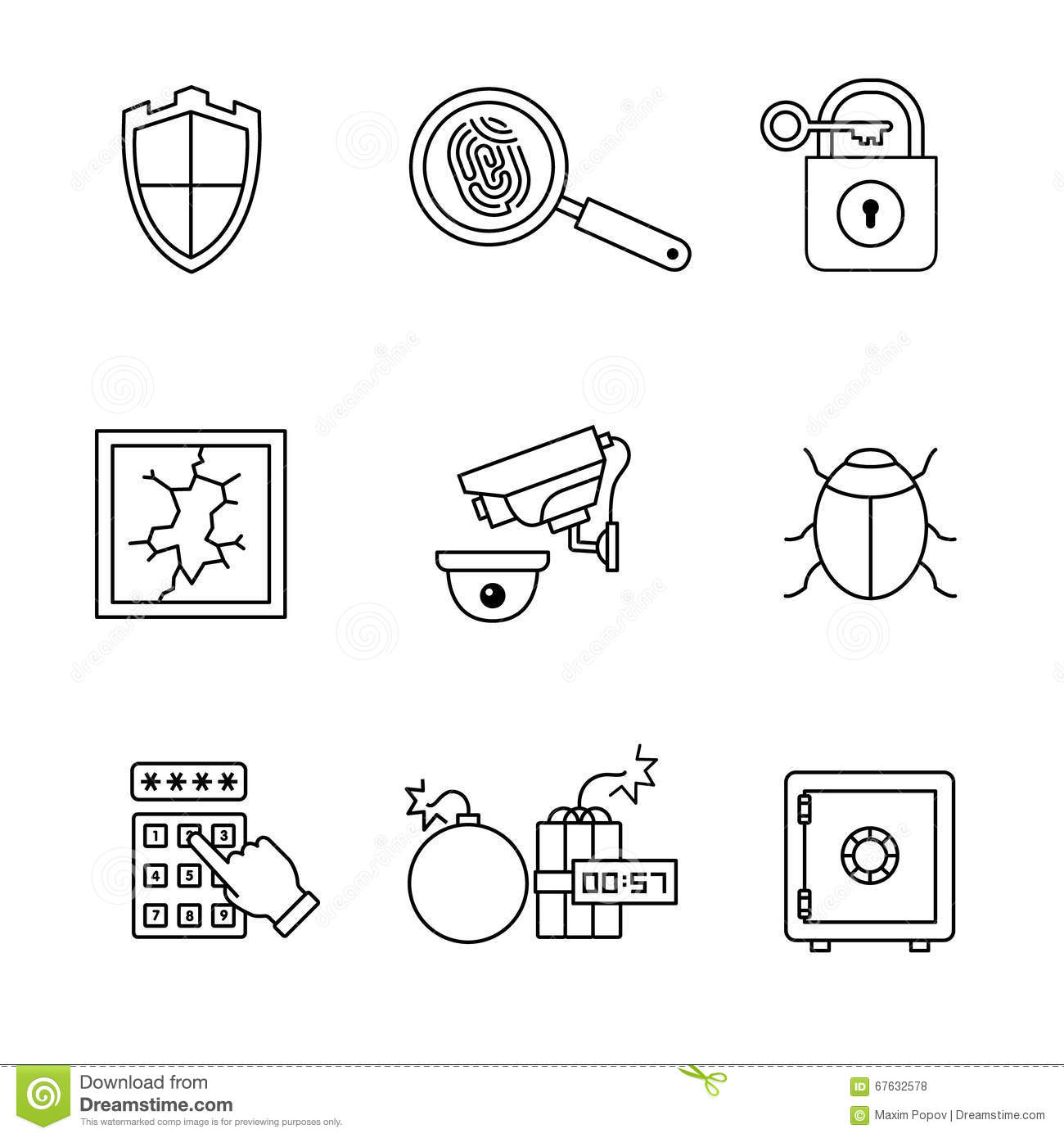 security and cybersecurity icons thin line art set stock