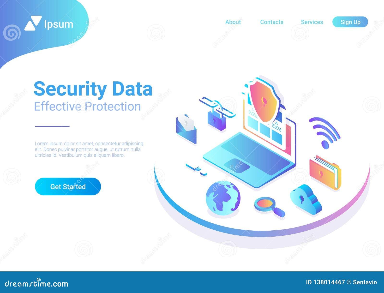 Security Data Protection Antivirus Laptop Cloud Is Stock Vector