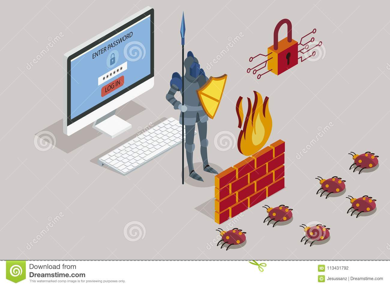 security data protection with firewall stock illustration