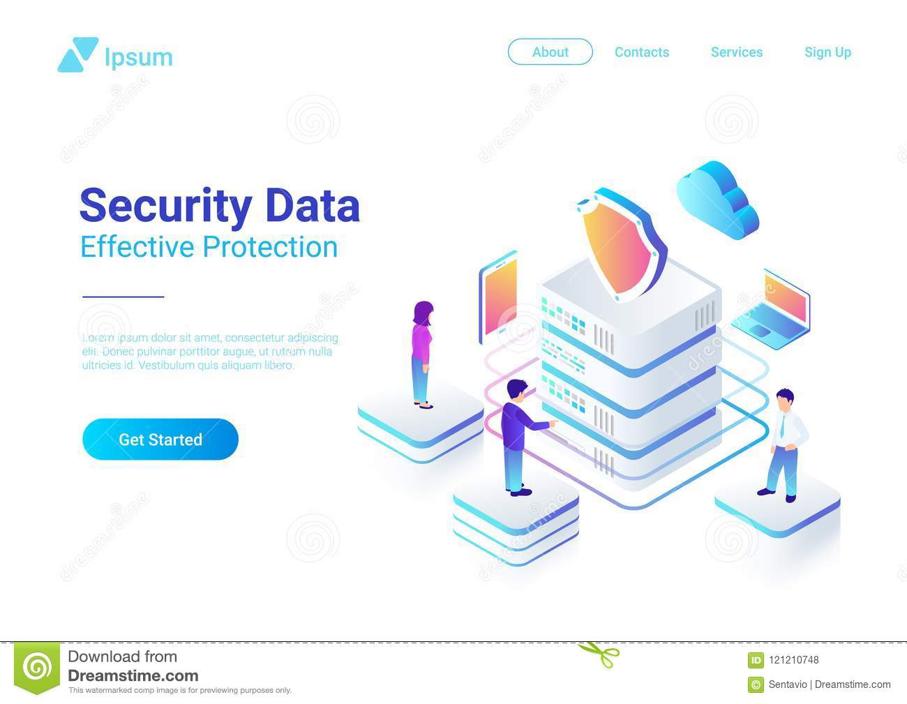 Security Data Protection Isometric Flat vector ill