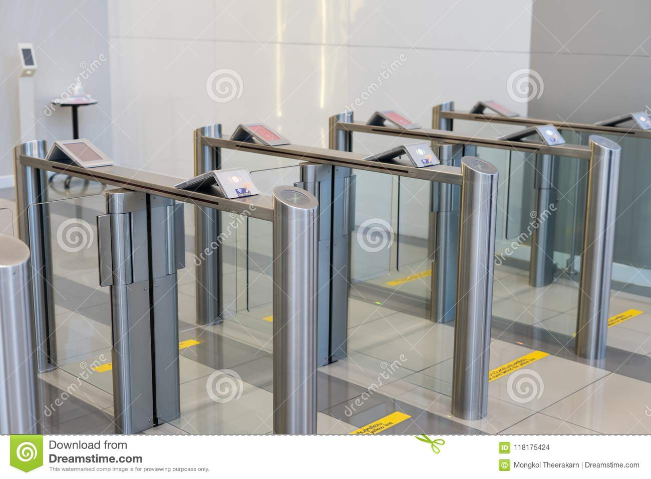 Security at an entrance gate with key card access control smart office building