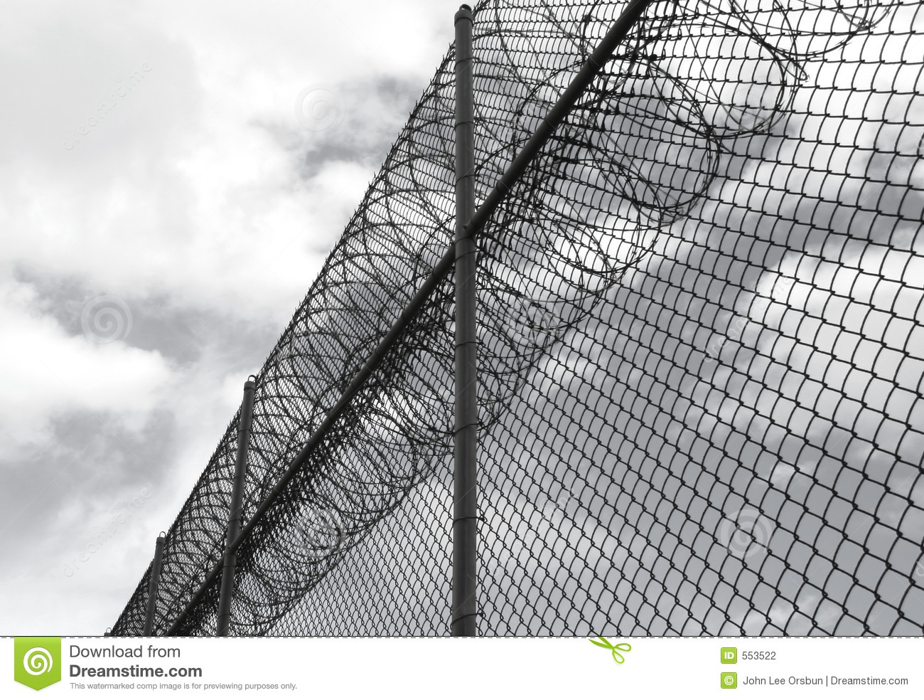 Security fence with barbed wire stock photography image