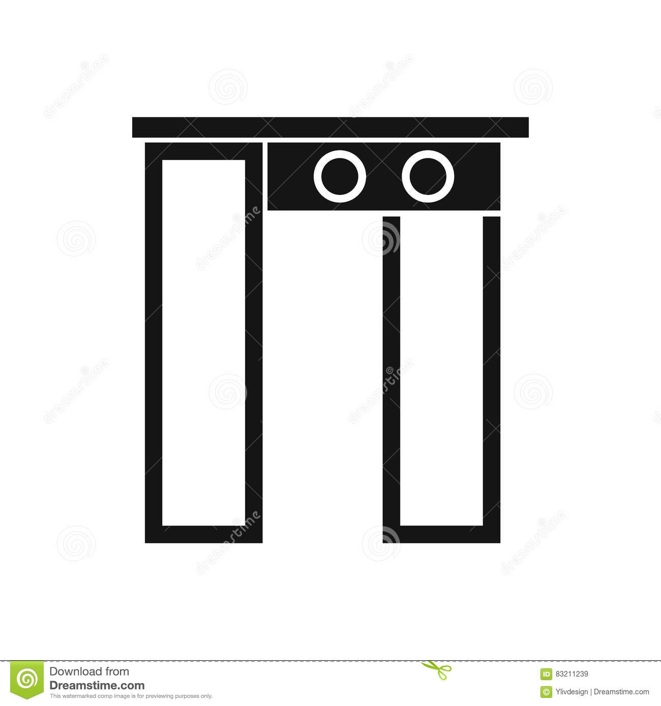 Security gate at airport icon simple style stock vector