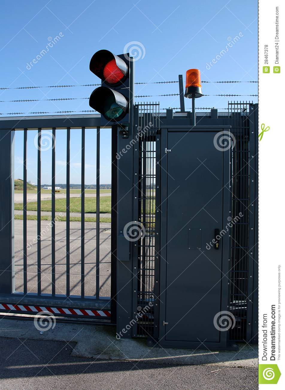 Security gate with red light royalty free stock photos