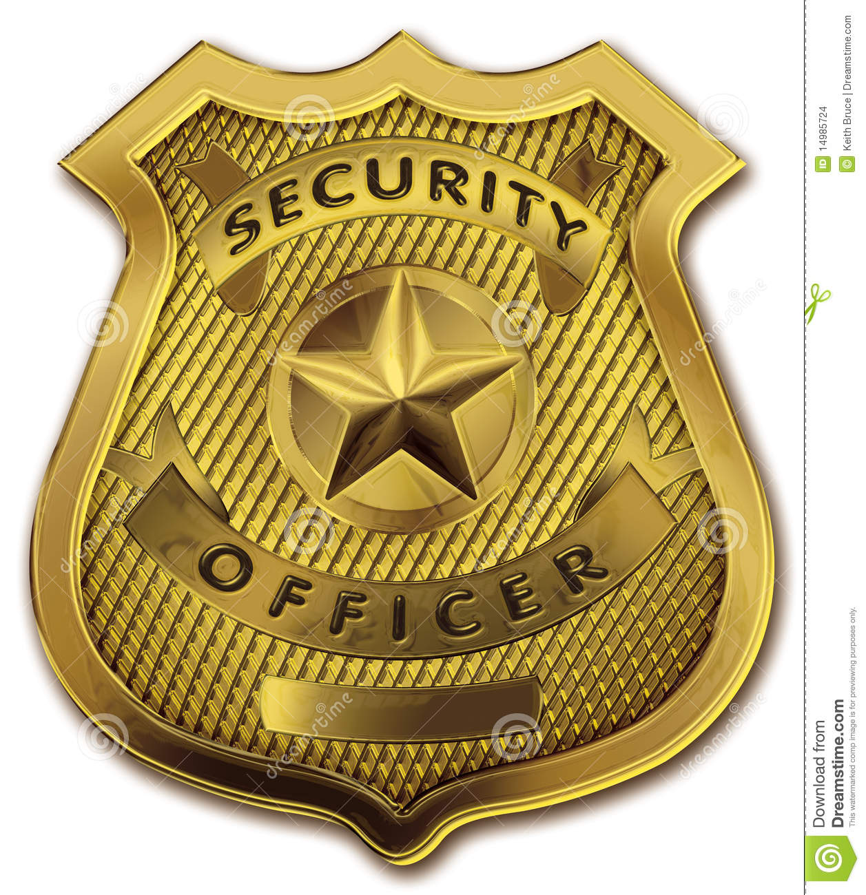 Shiny and realistic gold metallic security guard or personnel officer ...
