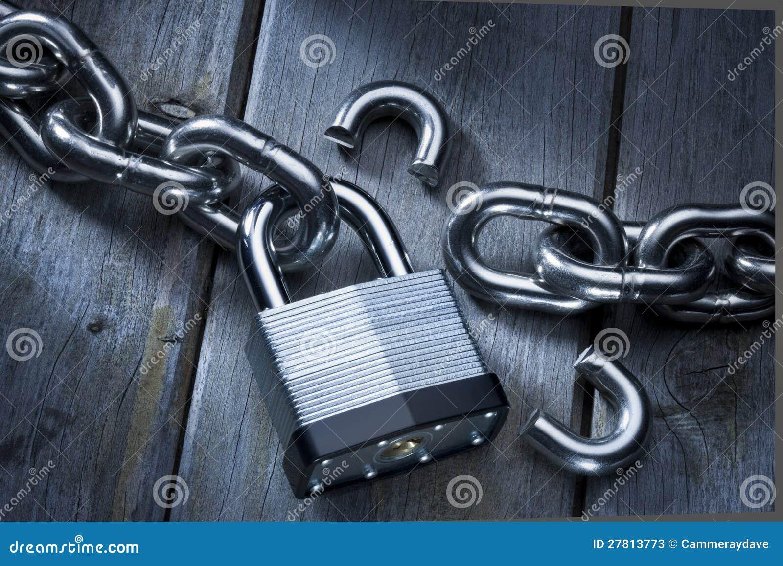 Security Lock Theft Chains Broken Stock Photos Image