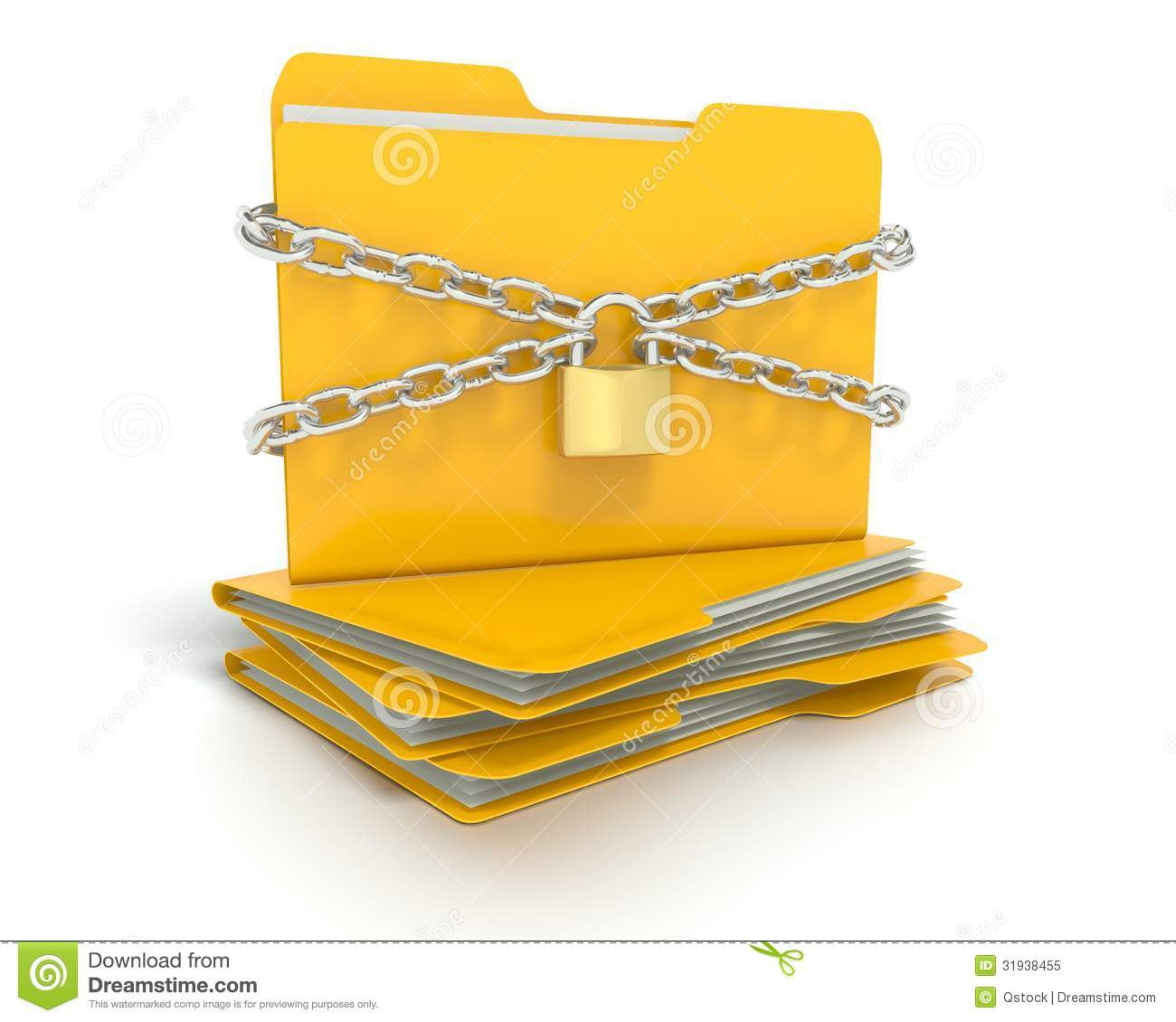 Security Lock And Chains With A Folder Stock Illustration