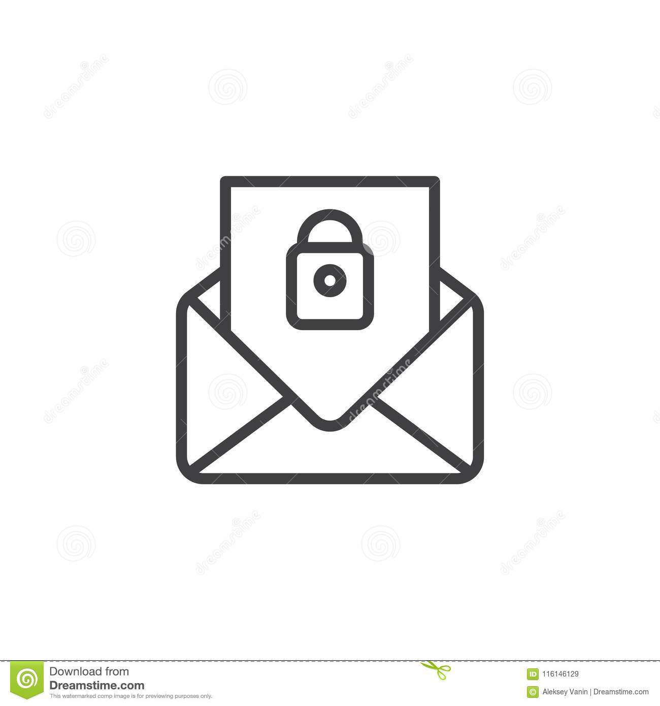 Security mail outline icon