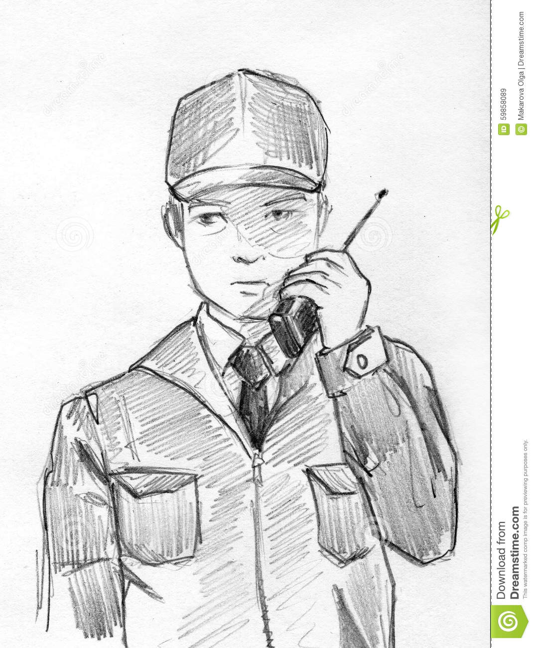Hand drawn pencil sketch of a security man speaking by radio