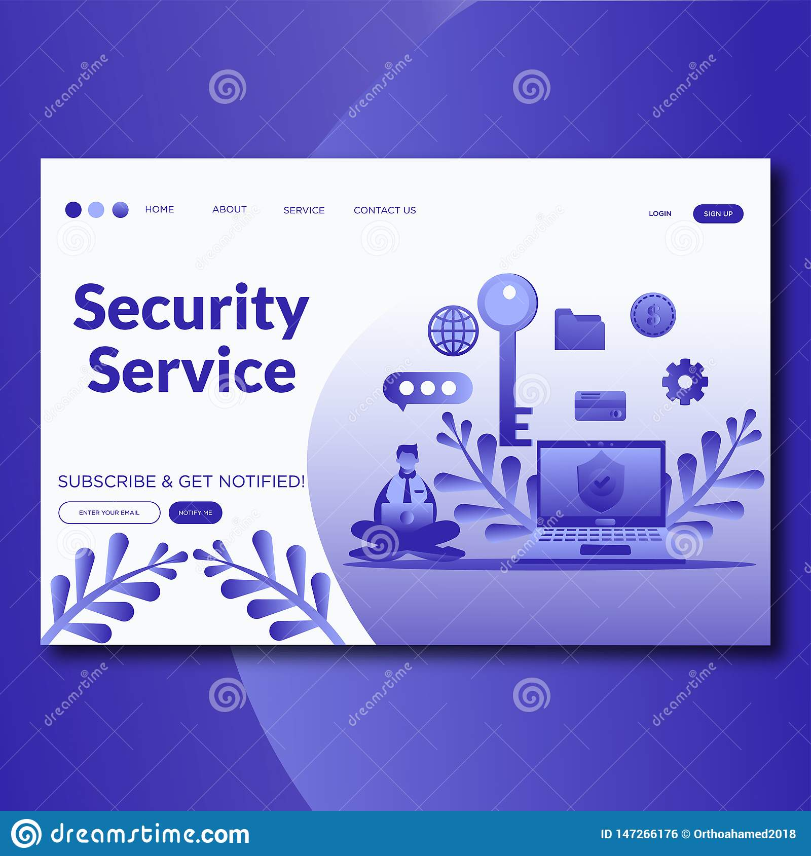 Security Service- Online security services landing page website vector template