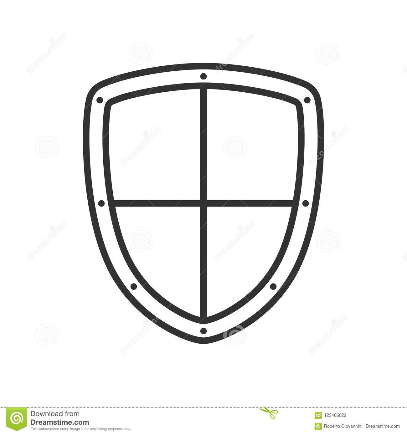 Security Shield Outline Flat Icon on White