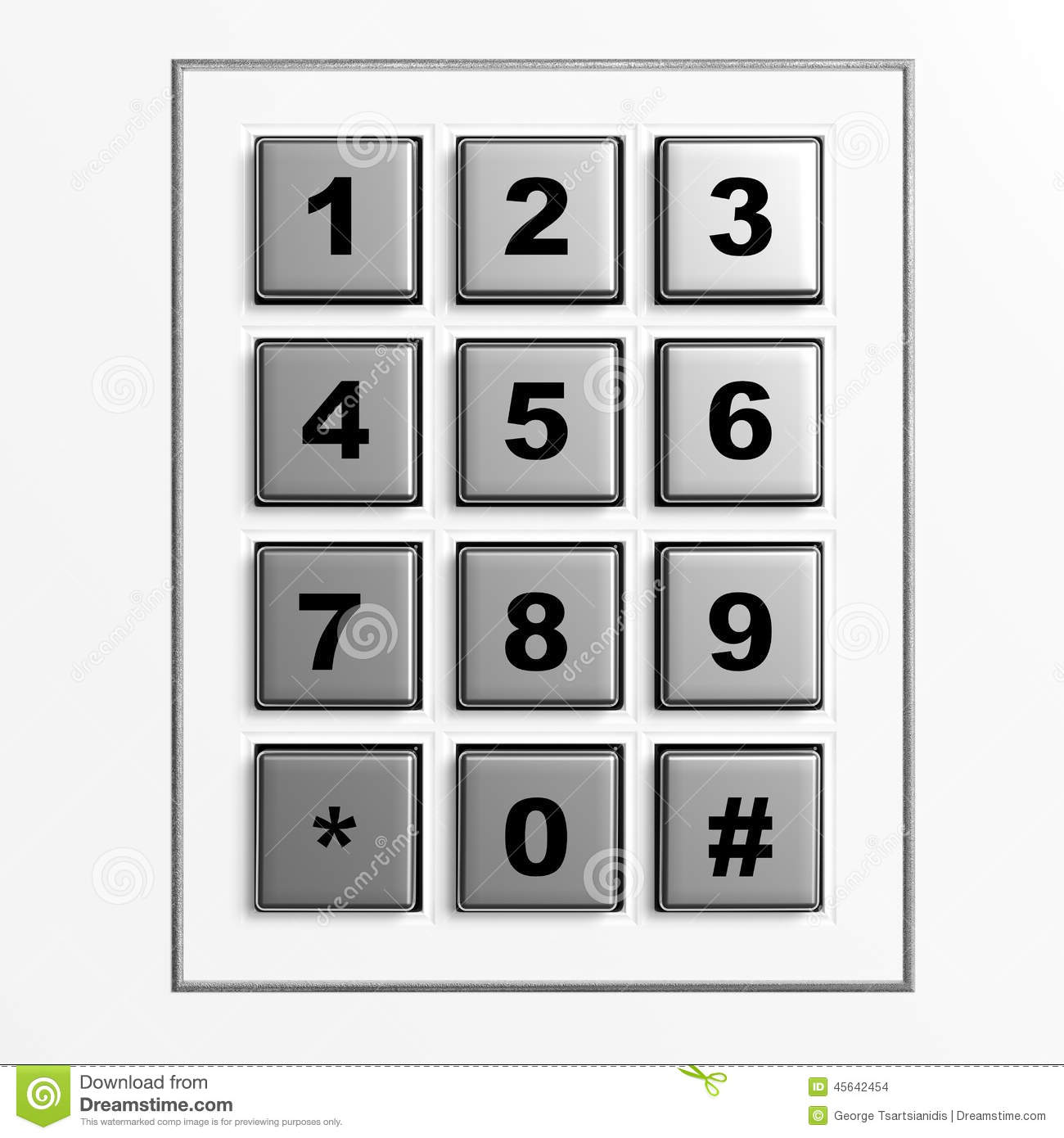 Security Silver Numeric Pad Royalty Free Stock Image