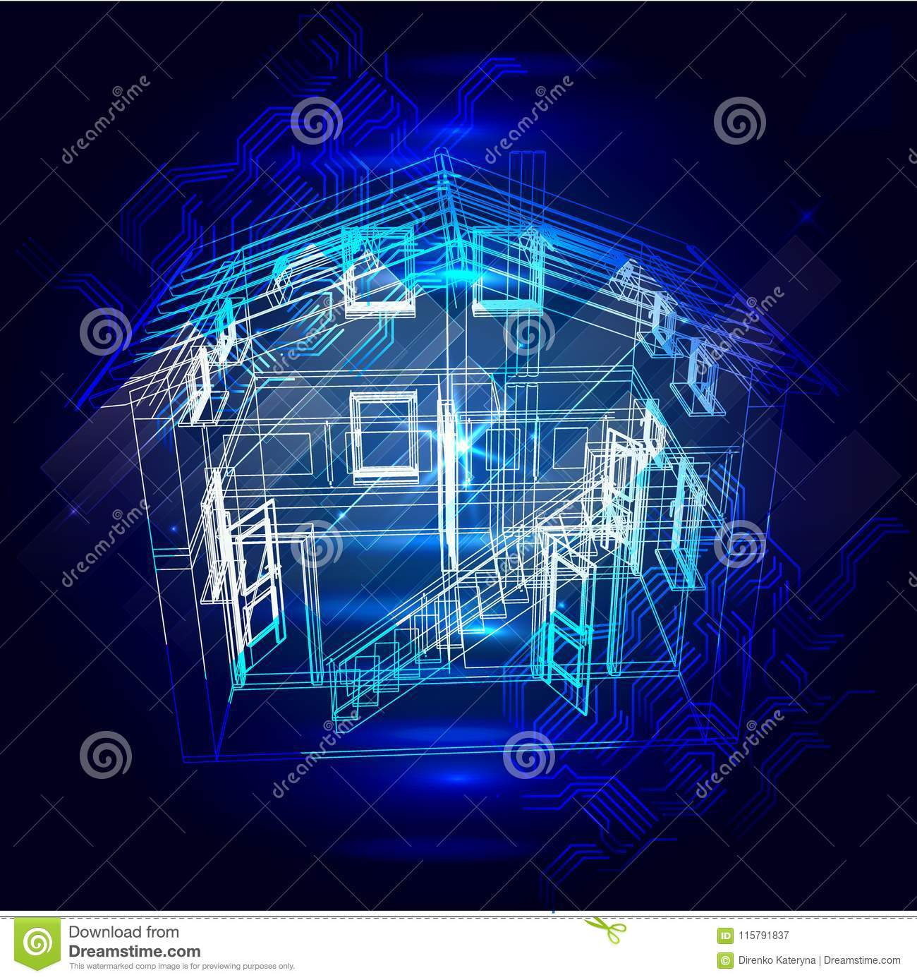 Security System Of Smart Home 3d House Plan X Ray Stock Vector Electrical Wiring Diagrams For Homes