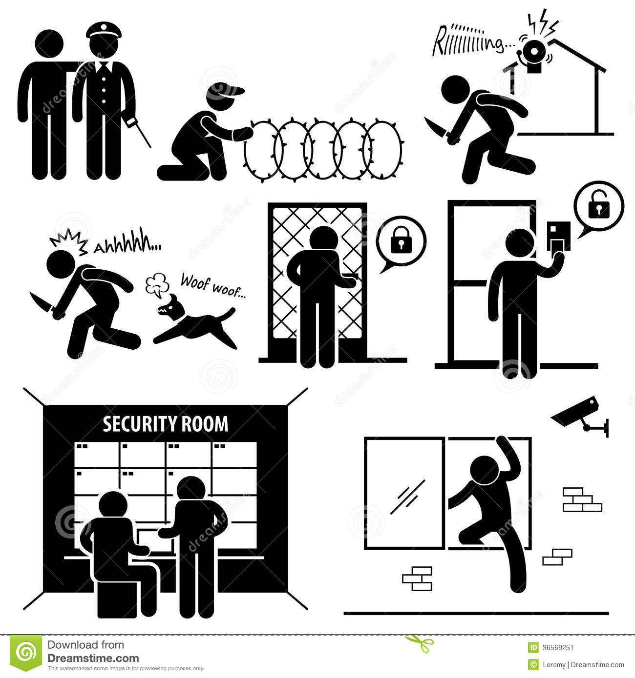 security system stick figure pictogram icon stock image