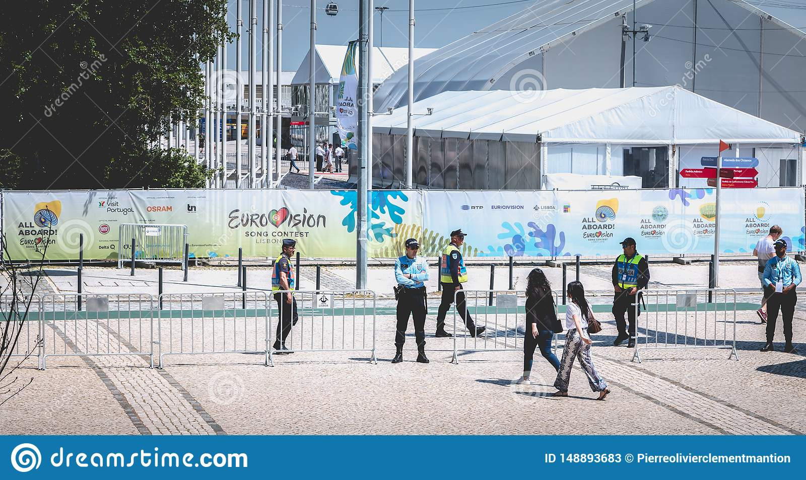Security team monitoring the entrances to 2018 Eurovision in Lisbon, Portugal