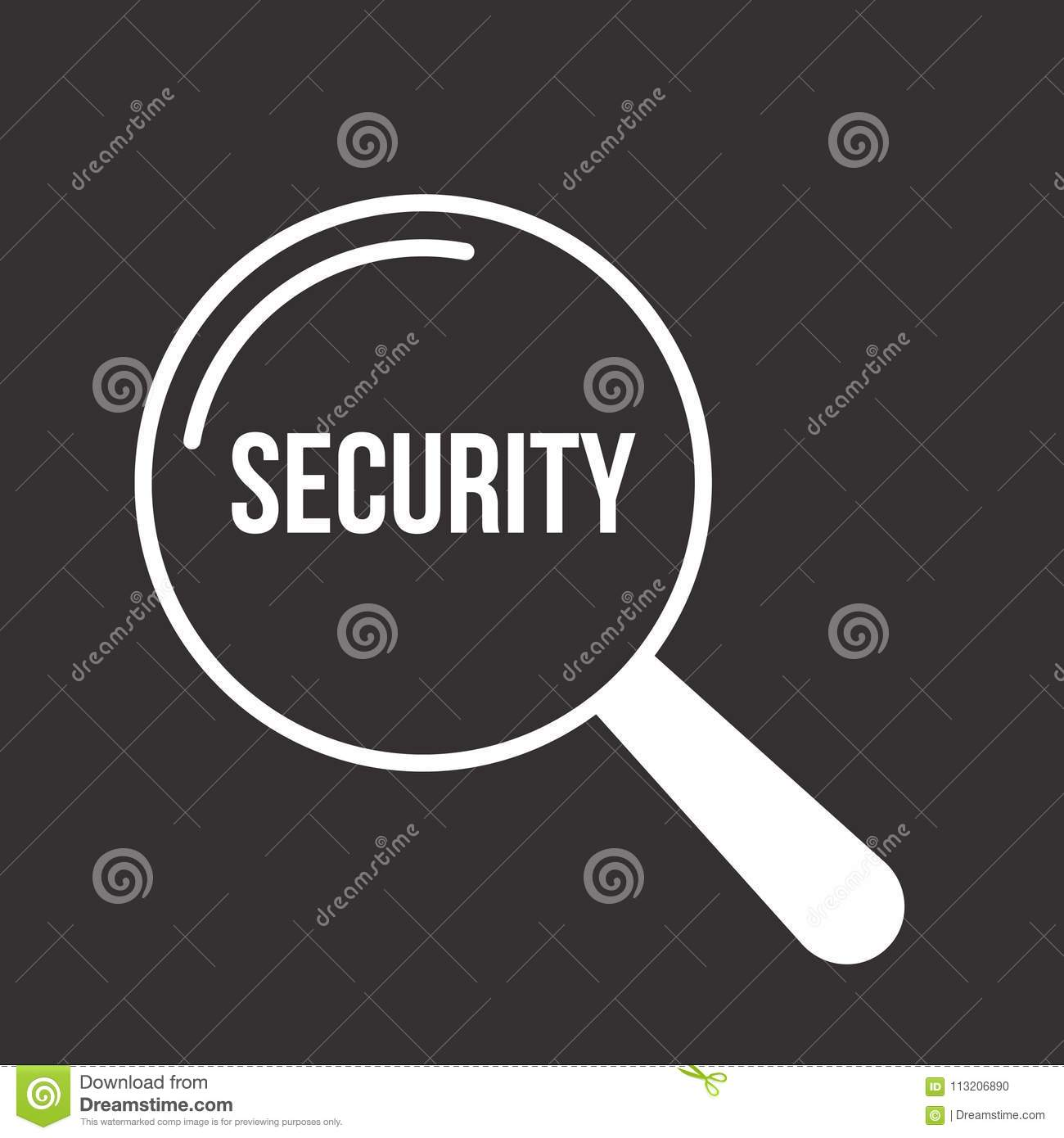 Security Word Magnifying Glass Stock Vector Illustration Of Safety