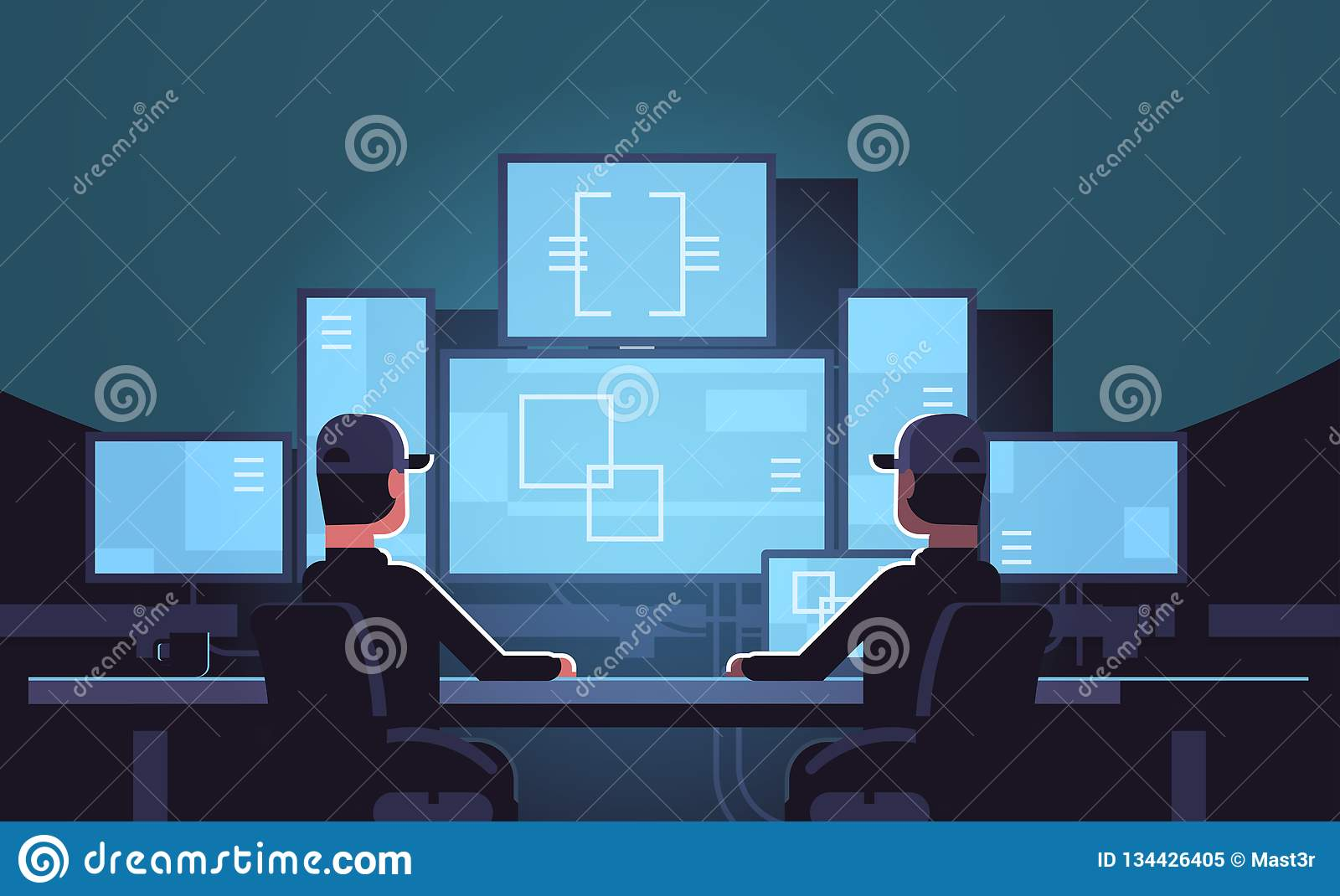 Security Workers Watching Video Surveillance Camera On