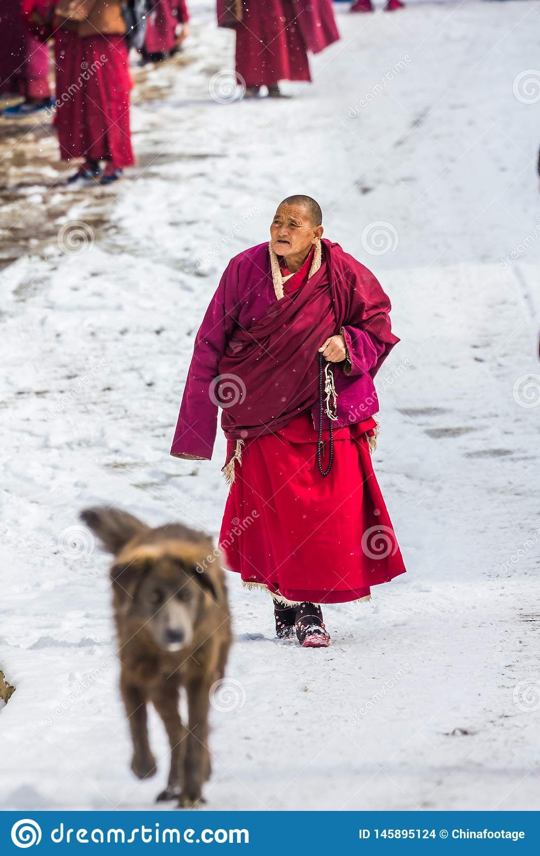 Seda, Сычуань, фарфор-повреждает 08,2016, монахи на коллеже Seda buddhish