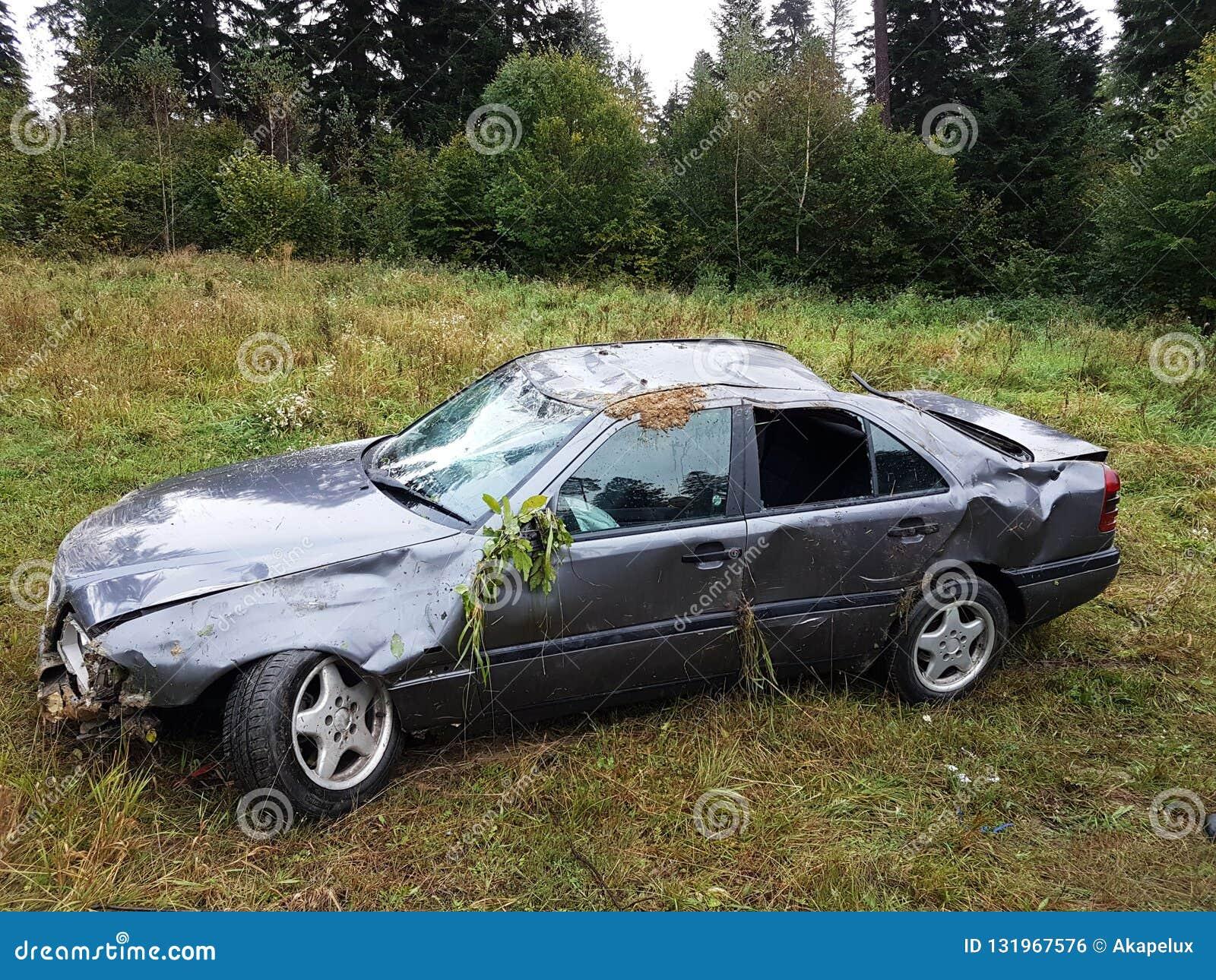 Sedanu powyginani szarzy samochodowi kłamstwa w pobocze przykopie wśród bujny zielenieją ulistnienie krzak w lecie Drogowego ruch