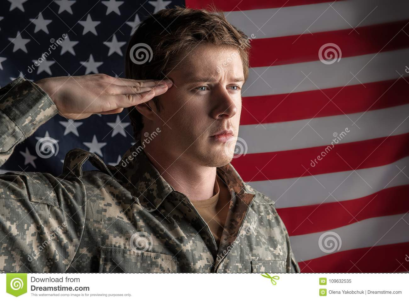 Sedate soldier standing and returning a salute