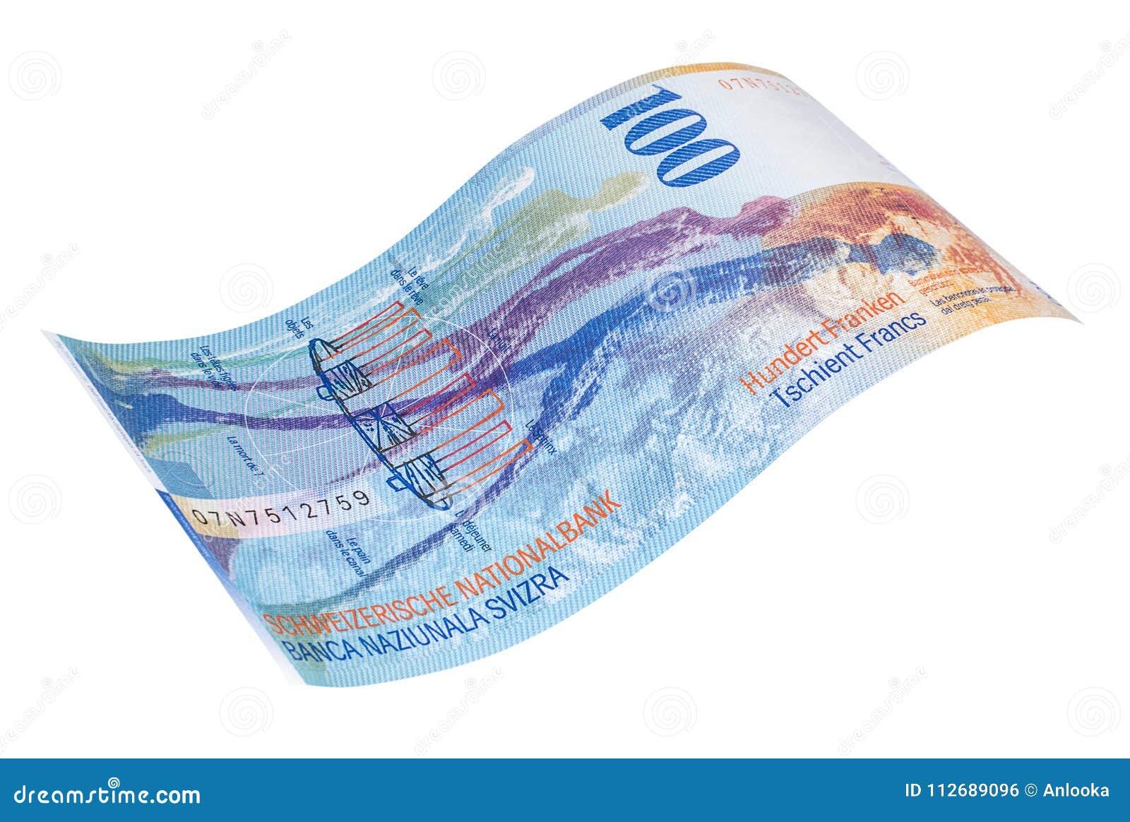 Sedel av de hundra schweizisk franc sikt för tillbaka sida