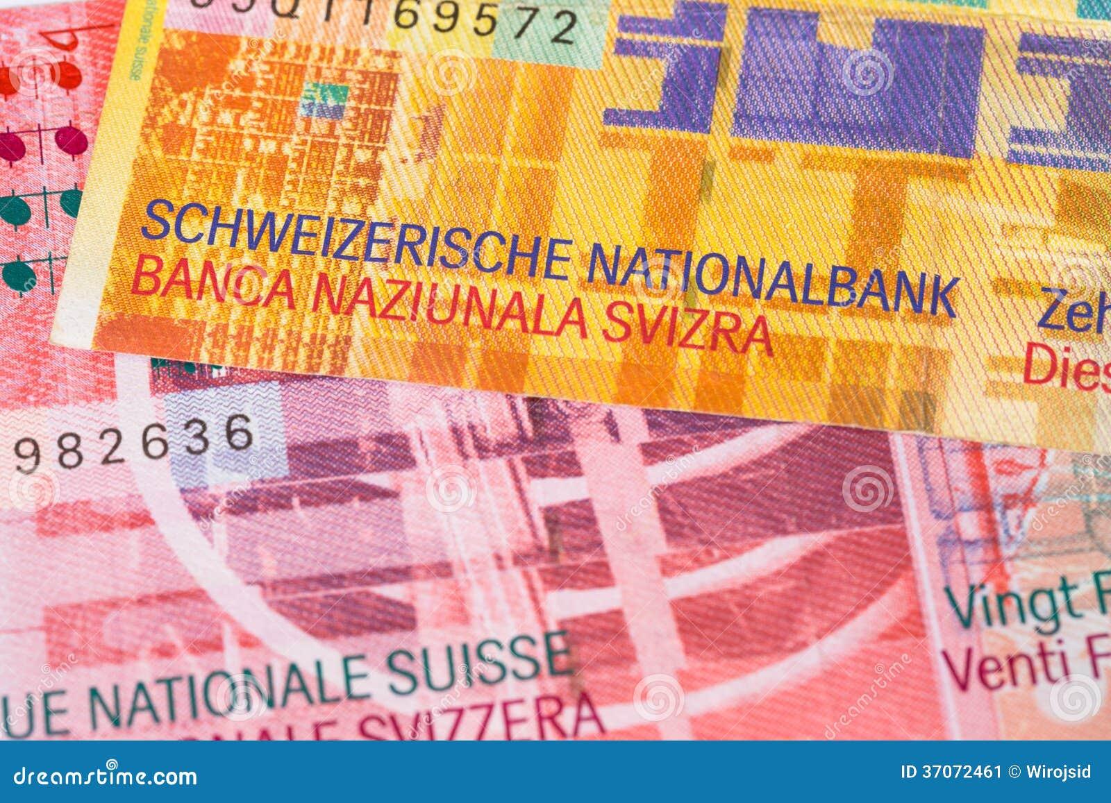 Sedel för Schweiz pengarschweizisk franc