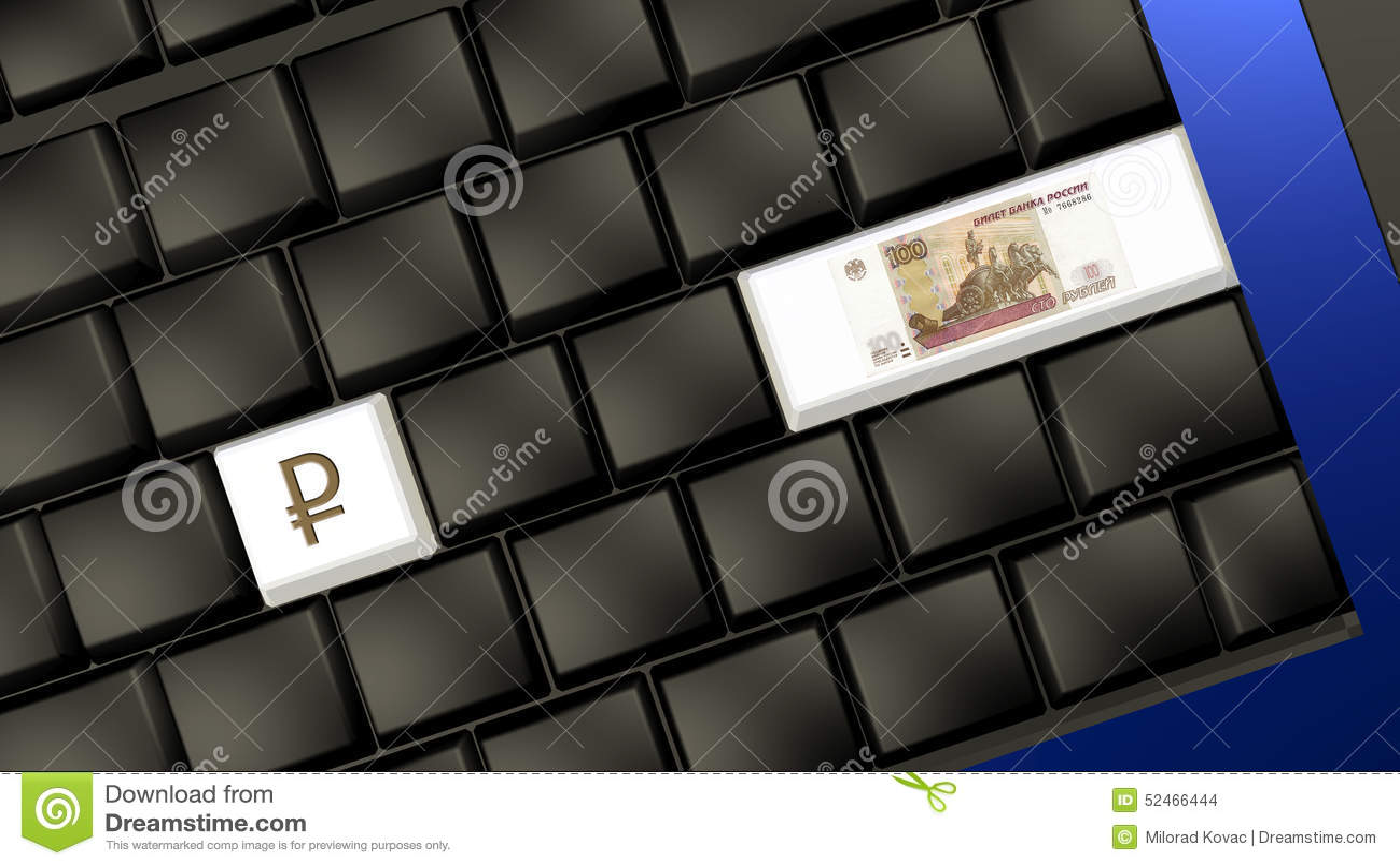 Sedel och tecken för rysk rubel på bärbar datortangentbordet