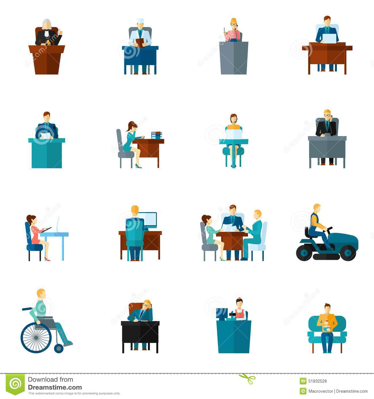 Sedentary Icons Flat Stock Vector Image 51832528