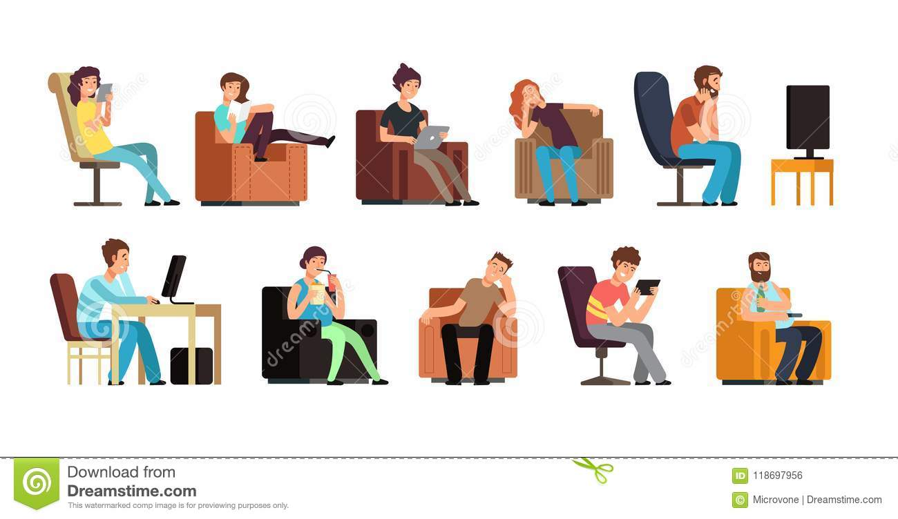 sedentary man and woman on couch watching tv phone