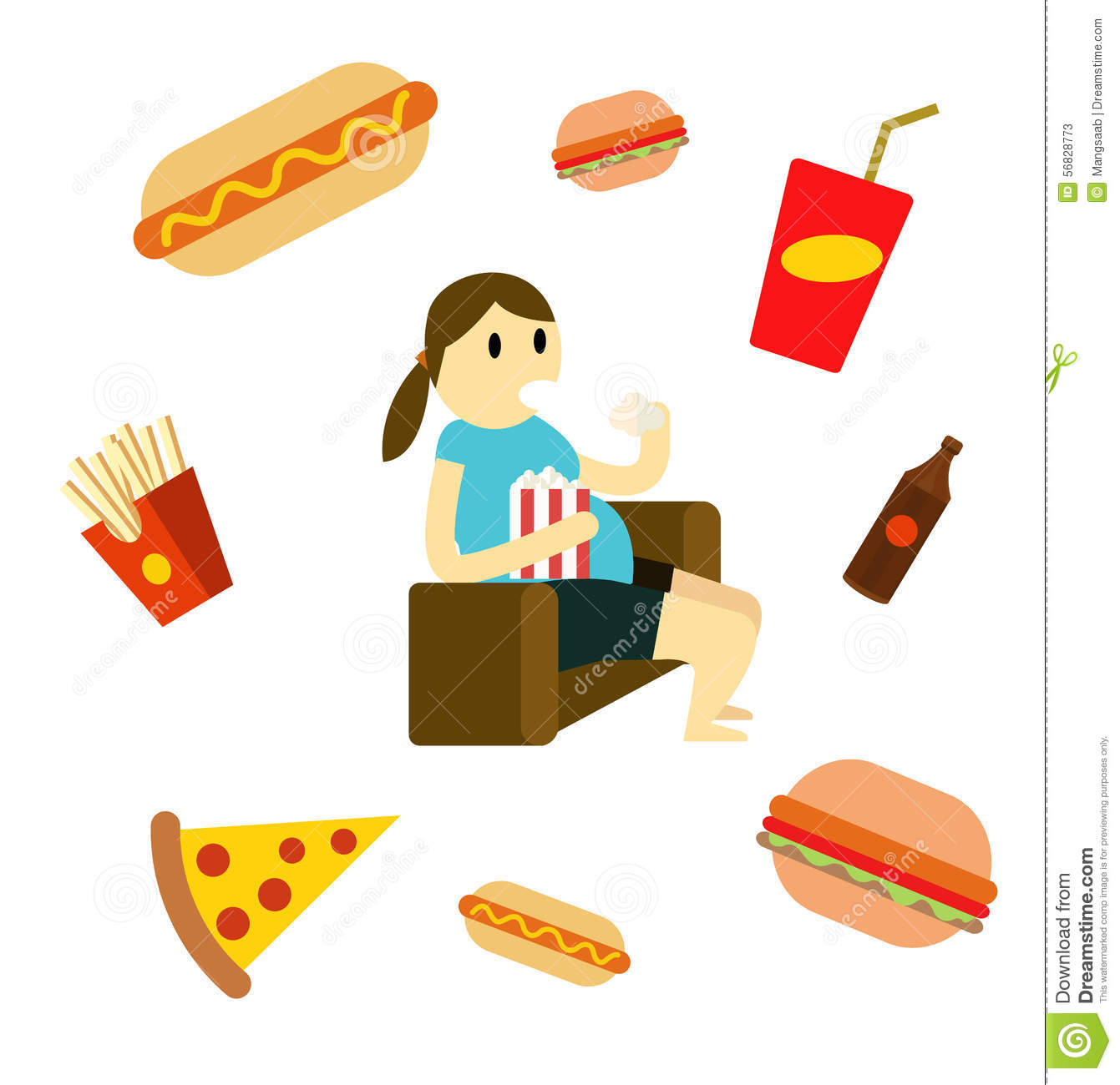 Sedentary Woman Eating Fast Food On The Couch. Stock