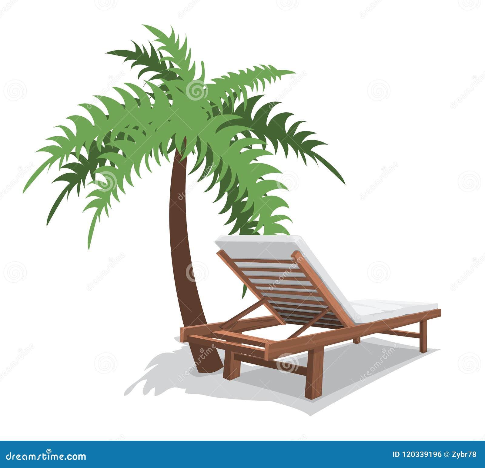 Sedia Di Spiaggia Con La Palma Illustrazione Vettoriale ...